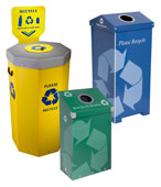 Bottles, Cans, Aluminum, Glass & Plastic Recycling Bins