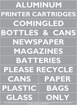 Silver Recycling Label Sheet (Pack of 10)