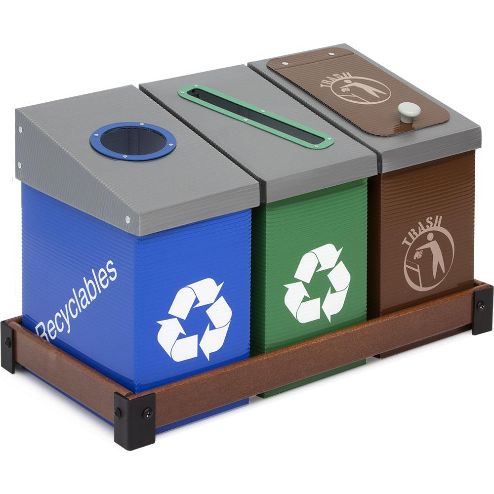 deskmate 3 bin station blue green and trash