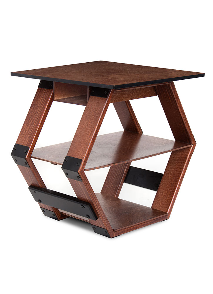 Hex Table Dark Wood Stained End Table