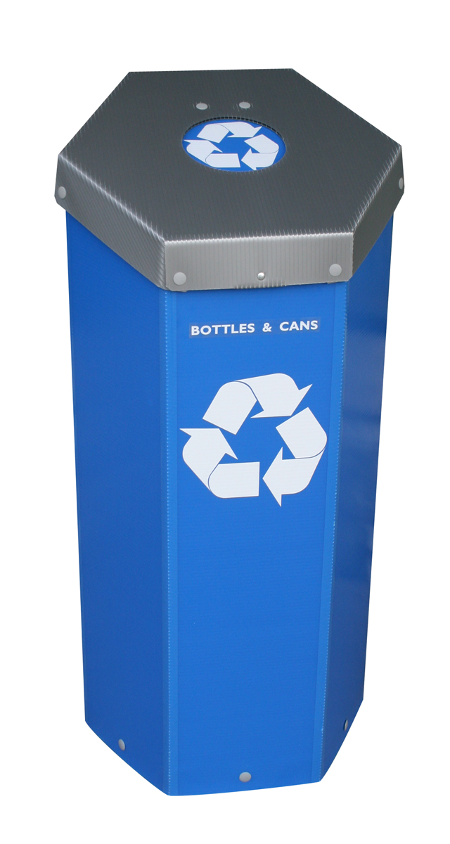 Hexcycle® IV Blue Can & Bottle Recycling Bin with a Spring Loaded Flap