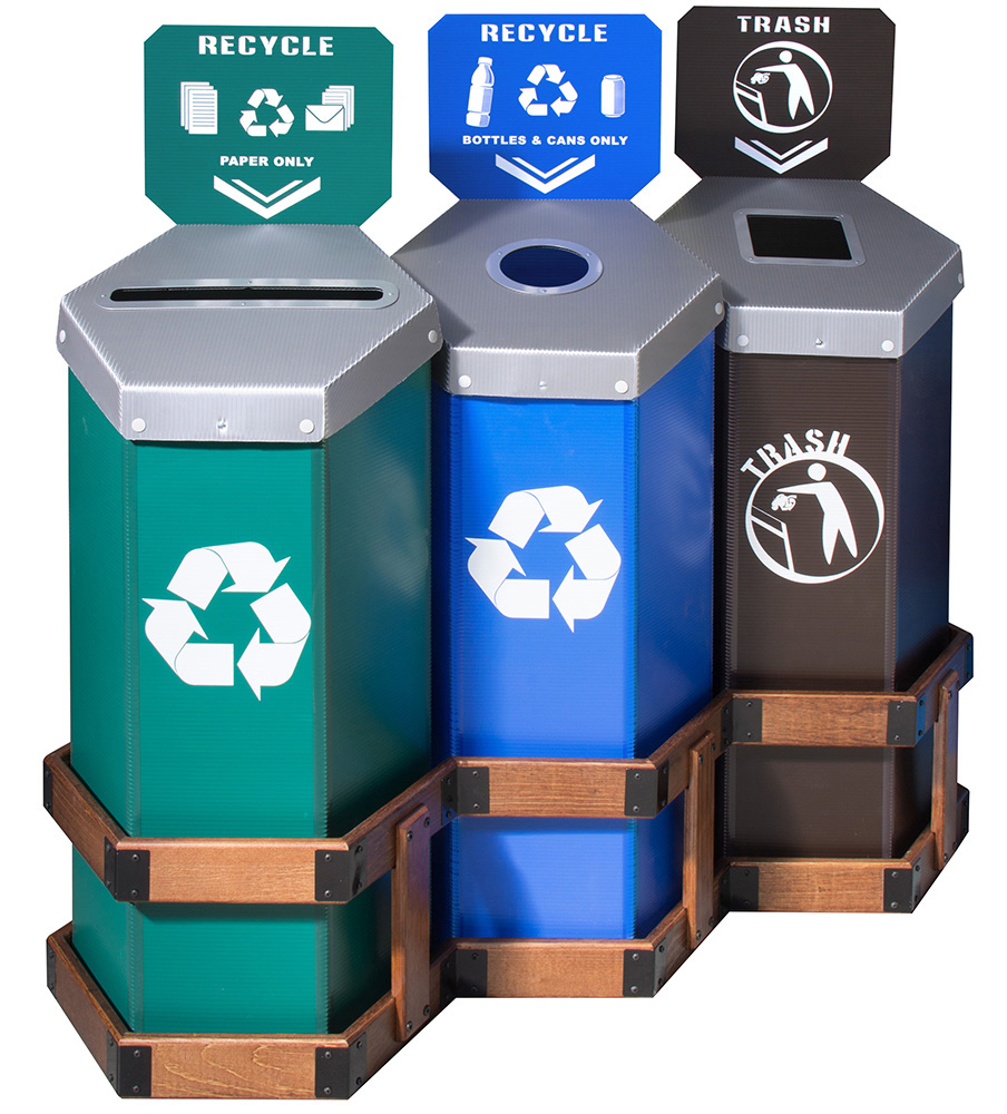 Hexstation™ 3-Bin Recycling and Trash Station