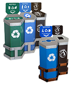 Hexstation™ 60 - 90 Gallon Recycling Stations