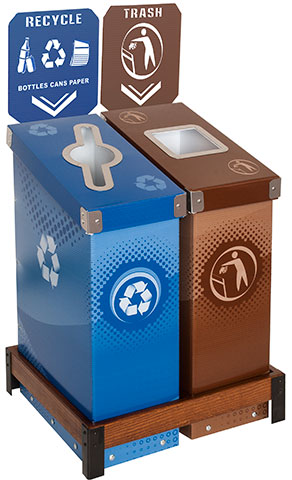 Slimcycle™ 2 Bin Station with Indicator Signs