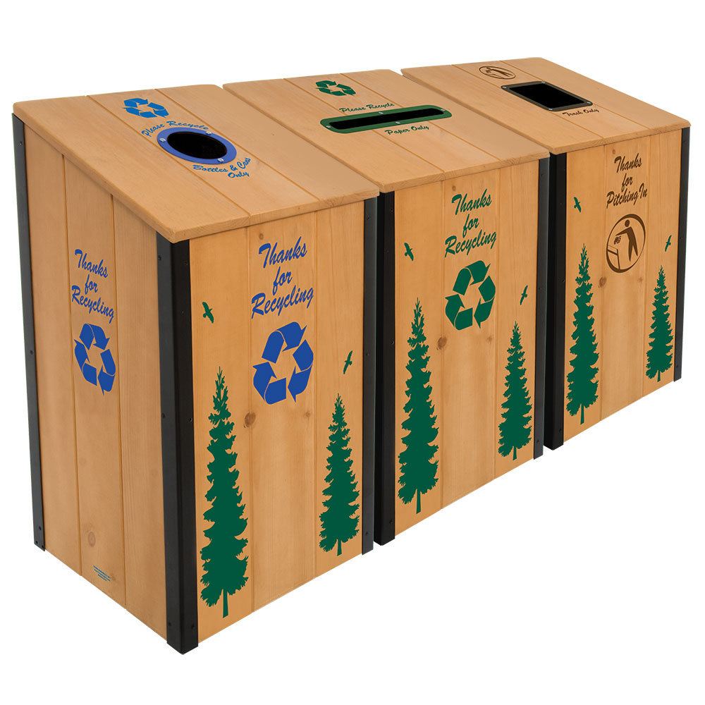 The Heritage Series™ - Natural Wood - 3-Bin Station