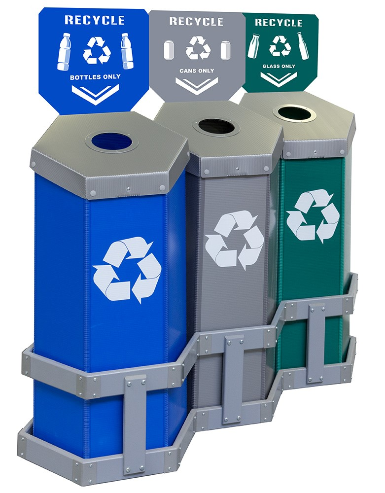 Hexstation 3-Bin Bottles, Cans and Glass Station