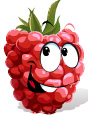 Raspberry with smiling face