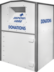 White Clothing Donation Bin with Blue Text Deposit Here and Donations