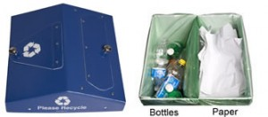 Photo of 1 bin with two deposit slots and two distinct bag liners inside bin to separate collections