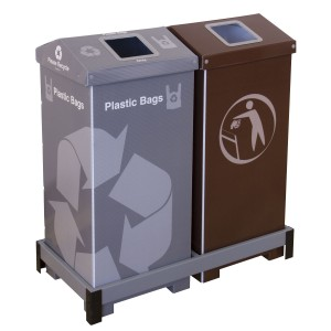 Photo of an A-Bin Plastic Bag Recycling Bin and an A-Bin Trash Bin nested in a Placekeeper Frame to create a waste collection system