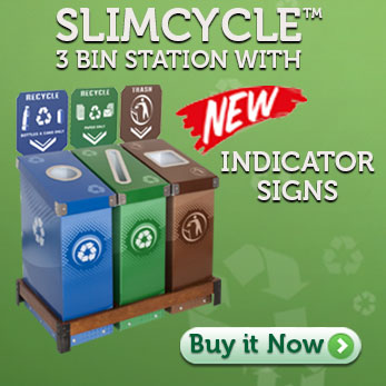 Slimcycle™ 3 Bin Station with Indicator Signs