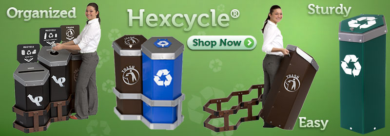 Hexcycle® Recycling Bins, Trash Cans and Stations
