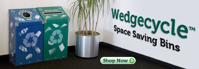 Wedgecycle™ Recycling Bins, Trash Cans and Stations